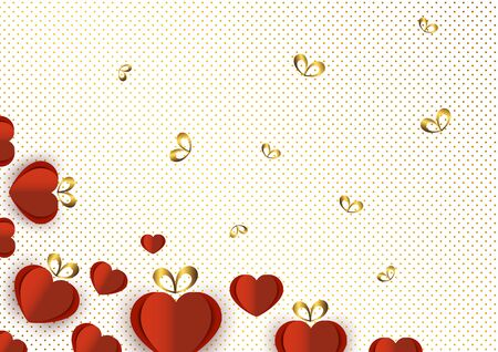Bright paper hearts and bows on a background of gradient dots, love, celebration, Valentine's Day. Vector illustration for your design. Banque d'images - 133100493