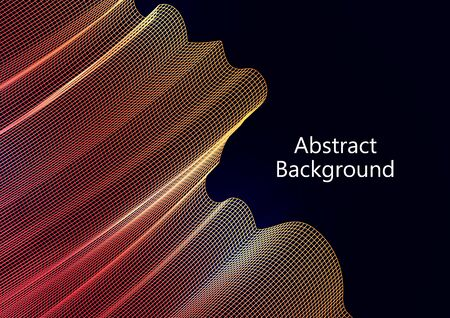 Abstract wavy square grid on a black background. Bright color gradient. Elegant background for wallpaper, banner, cover, flyer. Business template. Vector illustration Banque d'images - 133103368