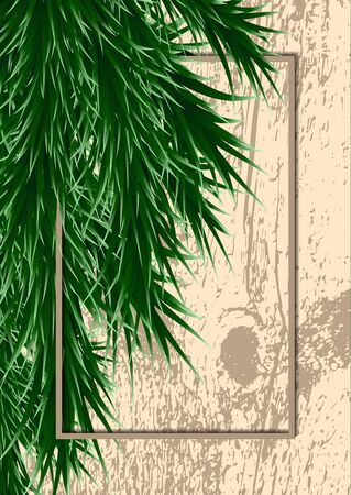Fir branches and frame on a background with testure. Template for design. Vector illustration Banque d'images - 133150663