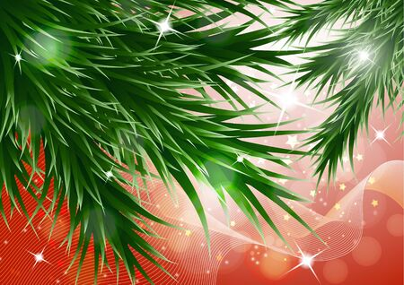 Sparkling christmas decorative background with green spruce branches, magic glare. Vector illustration for your design. Banque d'images - 133152045
