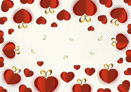 Bright paper hearts and bows on a background of gradient dots, love, celebration, Valentine's Day. Vector illustration for your design. Banque d'images - 133152489