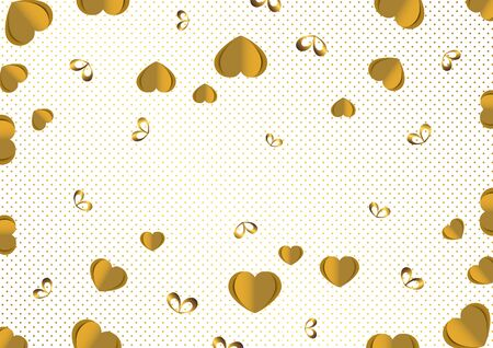 Bright paper hearts and bows on a background of gradient dots, love, celebration, Valentine's Day. Vector illustration for your design. Banque d'images - 133153472