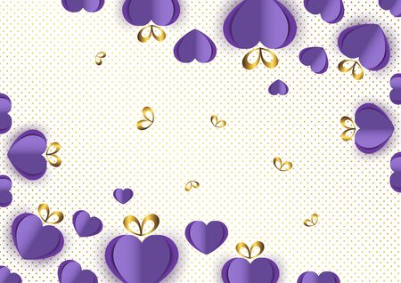 Bright paper hearts and bows on a background of gradient dots, love, celebration, Valentine's Day. Vector illustration for your design. Banque d'images - 133152453