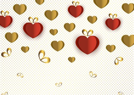 Bright paper hearts and bows on a background of gradient dots, love, celebration, Valentine's Day. Vector illustration for your design. Banque d'images - 133152334