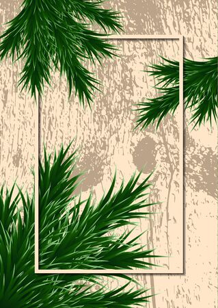 Fir branches and frame on a background with testure. Template for design. Vector illustration Banque d'images - 133153822