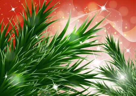 Sparkling christmas decorative background with green spruce branches, magic glare. Vector illustration for your design. Banque d'images - 133280671