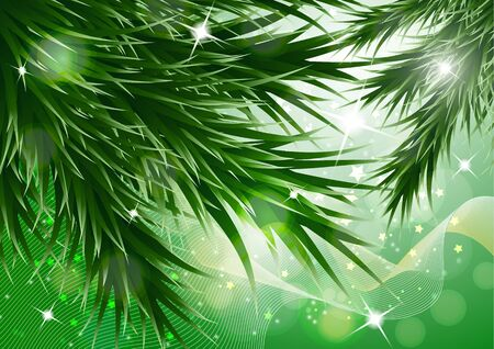 Sparkling christmas decorative background with green spruce branches, magic glare. Vector illustration for your design. Banque d'images - 133245022