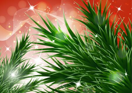 Sparkling christmas decorative background with green spruce branches, magic glare. Vector illustration for your design. Banque d'images - 133246874