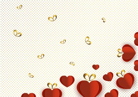 Bright paper hearts and bows on a background of gradient dots, love, celebration, Valentine's Day. Vector illustration for your design. Banque d'images - 133254096