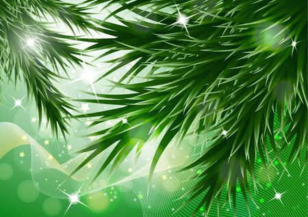 Sparkling christmas decorative background with green spruce branches, magic glare. Vector illustration for your design. Banque d'images - 133254329