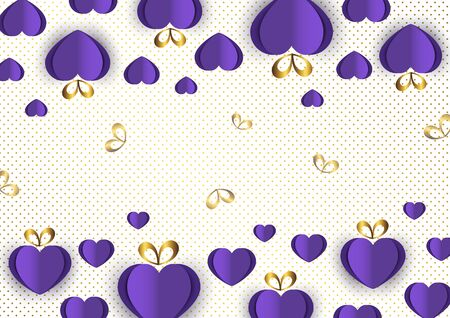 Bright paper hearts and bows on a background of gradient dots, love, celebration, Valentine's Day. Vector illustration for your design. Banque d'images - 133273621