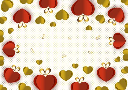 Bright paper hearts and bows on a background of gradient dots, love, celebration, Valentine's Day. Vector illustration for your design. Banque d'images - 133274089