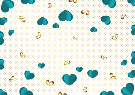 Bright paper hearts and bows on a background of gradient dots, love, celebration, Valentines Day. Vector illustration for your design. Ilustracja