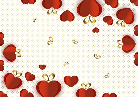 Bright paper hearts and bows on a background of gradient dots, love, celebration, Valentines Day. Vector illustration for your design. Ilustração