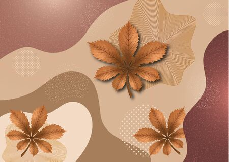 Abstract chestnut leaves background with wave, dots and lines. Good for cover, invitation, banner, poster, brochure, postcard, flyer and others. Vector illustration.
