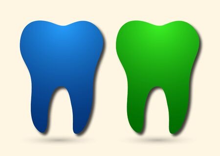Healthy tooth icon. Flat design style. Tooth simple silhouette. Modern, minimalist icon in stylish colors. Website page design element and mobile application, brochure design, banner, flyer. Vector illustration Stockfoto - 134786183