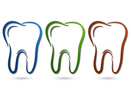 Healthy tooth icon. Flat design style. Tooth simple silhouette. Modern, minimalist icon in stylish colors. Website page design element and mobile application, brochure design, banner, flyer. Vector illustration Stockfoto - 134673716