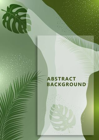 Bright abstract background, colored waves, dots, monstera leaves and palm trees. Universal art template. Modern graphic design for banners, business cards, invitations, gift cards, flyers, brochures. Vector illustration Ilustração