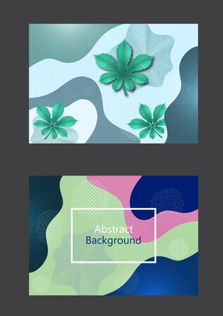 Set of greeting cards. Creative background in minimal trendy style. Chestnut leaf, abstract shapes, waves, circles, dots. Design for cover, poster, flyer, website background or advertisement. Vector illustration Imagens - 133930457