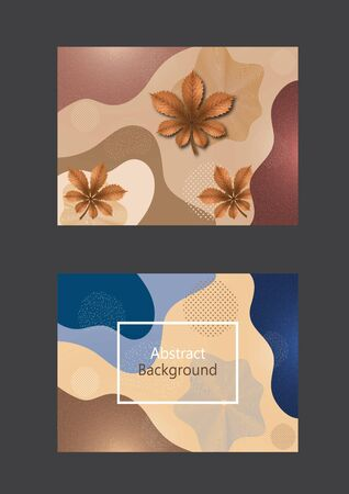 Set of greeting cards. Creative background in minimal trendy style. Chestnut leaf, abstract shapes, waves, circles, dots. Design for cover, poster, flyer, website background or advertisement. Vector illustration Imagens - 133930607