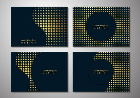 Collection of template cards for business. Abstract circle, wave on a halftone background. Place for text. Vector illustration for your design.