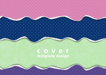 Bright background from colored pieces of paper torn around the edges, polka dots. Creative abstract waves. Template for your design. Vector illustration Ilustrace