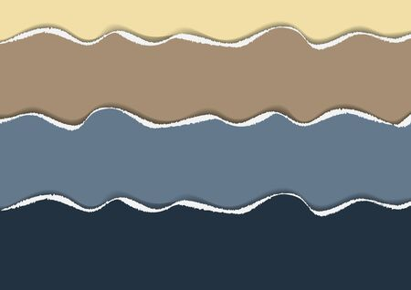 Bright background of colored pieces of paper torn around the edges. Creative abstract waves. Template for your design. Vector illustration