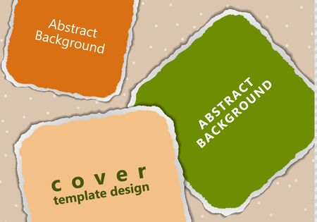 Bright abstract colored pieces of paper torn around the edges on a polka dot background. Place for text. Template for your design. Vector illustration