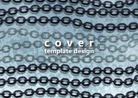 Abstract steel chain on a background with a texture. Trendy design cover template. Vector illustration