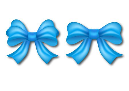 Set of decorative blue bows with ribbon isolated on a white background. Holiday gifts decoration, collection of shiny bows. Vector illustration for your design. Ilustração