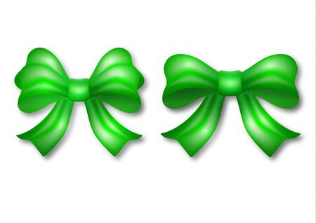 Set of decorative green bows with ribbon isolated on a white background. Holiday gifts decoration, collection of shiny bows. Vector illustration for your design.