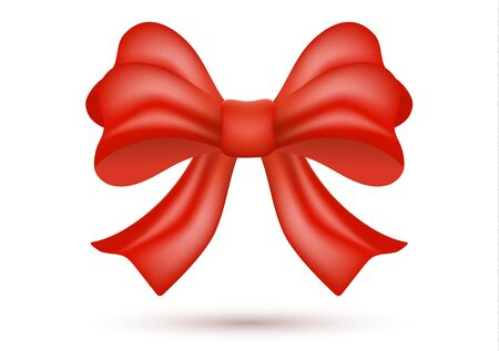 Decorative shiny red bow with ribbon isolated on a white background. Decoration of holiday gifts and backgrounds. Vector illustration for your design. Ilustração