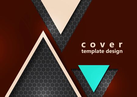 Bright corporate banner design with the texture of hexagons, triangles. Abstract technology background. Vector illustration