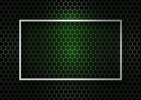 Abstract technical background metal grid of hexagons, color backlight. Place for text. Design template for business. Vector illustration Illustration