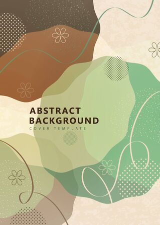 Abstract geometric background from overlapping round uneven shapes, twisted lines. Modern template for your design banner, flyer, cover. Vector illustration. Ilustração