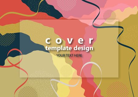 Bright abstract color background. Geometric wave shapes, decorative lines, circles of dots. Modern design. Template for banner, flyer, poster, brochure, gift card, cover. Vector illustration