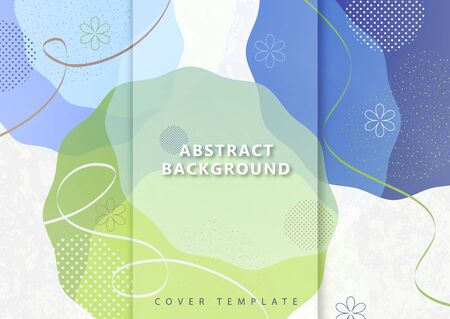 Abstract geometric background from overlapping round uneven shapes, twisted lines. Modern template for your design banner, flyer, cover. Vector illustration. Çizim