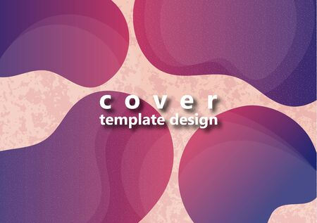 Colored flowing abstract shapes and particles on a light background with texture. Modern dynamic graphic design for business cards, invitations, gift cards, flyers, brochures. Vector illustration Ilustração