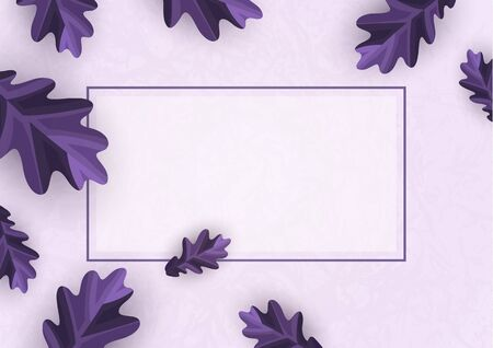Colorful promotional banner for sale. Vector illustration with creative oak leaves on a light background. Seasonal discounts. Template with copy space for marketing. Vector illustration Reklamní fotografie - 135493172
