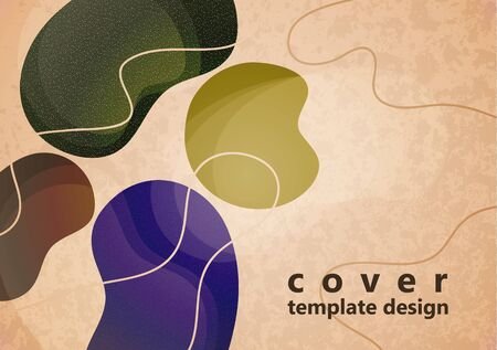 Colored flowing abstract shapes, lines, particles on a light background with texture. Modern dynamic graphic design for business cards, invitations, gift cards, flyers, brochures. Vector illustration Foto de archivo - 135500882