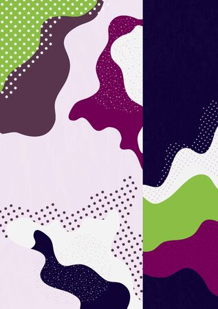 Modern abstract geometric composition with decorative waves, shapes and dots. Creative background for your design. Vector illustration