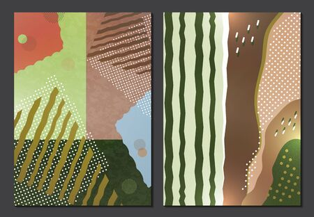 Collection of greeting cards. Abstract geometric composition with decorative wavy shapes, triangles, rectangles, lines and dots. Modern background for your design. Vector illustration