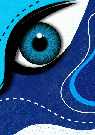 Creative mystic eye, flowing style, bright dynamic shapes and lines, colorful background, texture. Poster, banner, flyer. Vector illustration for your design.