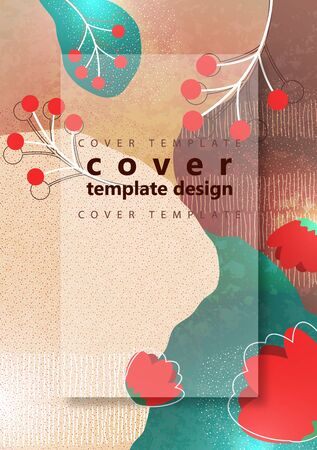 Bright color background. Wavy shapes, abstract flowers, many drawn lines. Design template for banners, flyers or posters. Vector illustration.