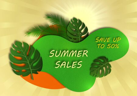 Abstract banner for seasonal summer sale. The sun, rays, monstera leaves and palm branches, wave geometric shapes. Vector illustration for your design.
