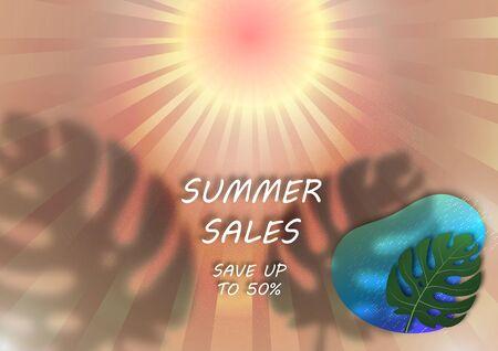 Banner for seasonal summer sale. Sun, rays, monstera leaf, shadow, abstract sea. Vector illustration for your design. Illusztráció