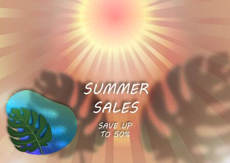 Banner for seasonal summer sale. Sun, rays, monstera leaf, shadow, abstract sea. Vector illustration for your design. Çizim