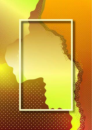 Modern geometric wave pattern background, dynamic shapes, small particles, bright gradient colors. Cover design, poster, flyer, book design. Vector illustration Illusztráció