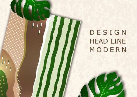 Abstract background, monstera leaves, texture, colored waves, dots. Universal art template. Modern design for banners, business cards, invitations, gift cards, flyers, brochures. Vector illustration