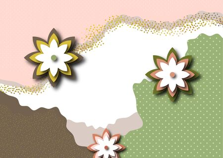 Bright color background. Wavy shapes, abstract flowers, many dots and particles. Design template for banners, flyers or posters, covers. Vector illustration